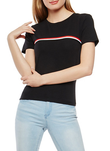 Striped Ribbon Trim Tee,BLACK,large