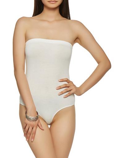 Strapless Bodysuit,WHITE,large