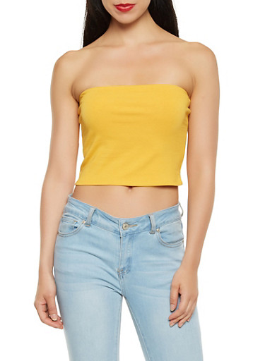 Solid Tube Top,YELLOW,large