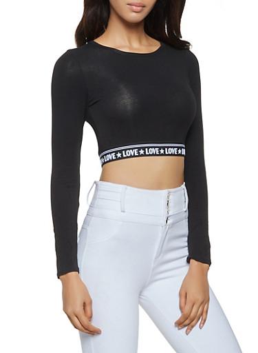 Love Graphic Elastic Band Crop Top,BLACK,large