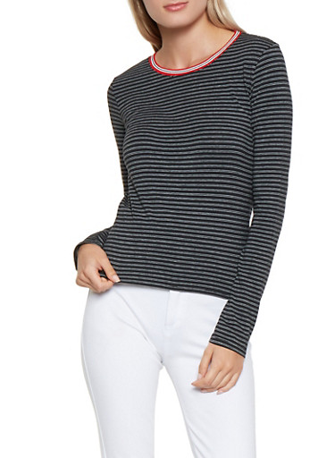 Striped Contrast Trim Tee,BLACK/WHITE,large