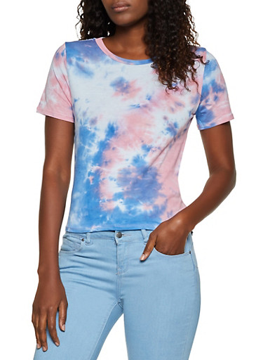 Short Sleeve Tie Dye Tee,ROSE,large
