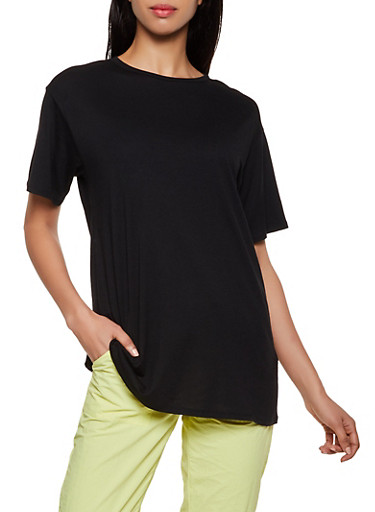 Oversized Short Sleeve Tee,BLACK,large
