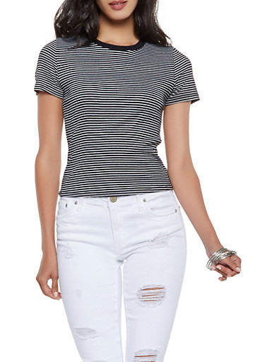 Striped Ribbed Knit Tee,BLACK/WHITE,large