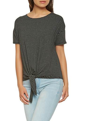 Striped Tie Front Tee,BLACK/WHITE,large