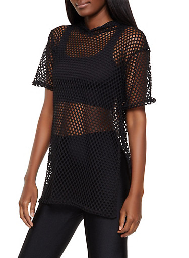 Hooded Fishnet Top,BLACK,large