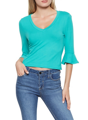 Soft Knit Bell Sleeve Top,GREEN,large