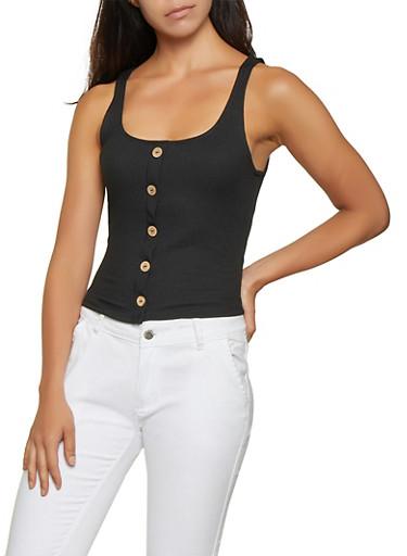 Button Detail Rib Knit Tank Top,BLACK,large