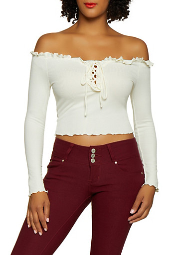 Off the Shoulder Lace Up Crop Top,WHITE,large
