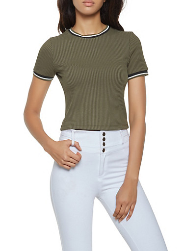 Striped Trim Rib Knit Tee,OLIVE,large