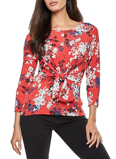 Floral Print Tie Front Top,RED,large