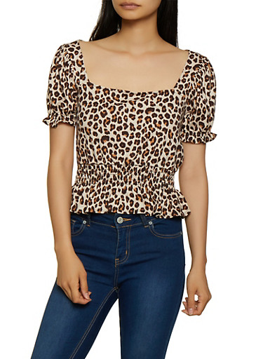 Leopard Print Bubble Sleeve Ruffle Top,BROWN,large