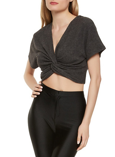 Cropped Twist Front Sweater,BLACK,large
