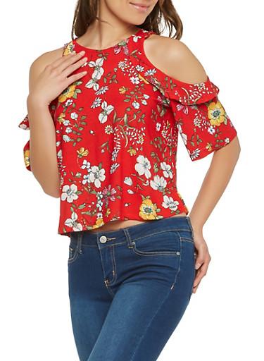 Floral Cold Shoulder Top,RED,large
