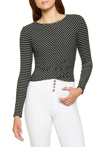 Striped Ribbed Knit Top,BLACK/WHITE,large