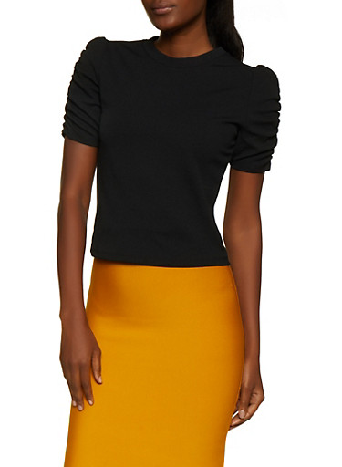 Ruched Sleeve Crepe Knit Top,BLACK,large