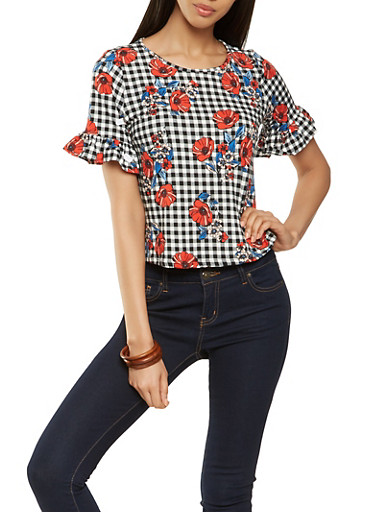 Gingham Floral Ruffle Sleeve Top,BLACK,large