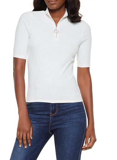 Zip Neck Ribbed Top,IVORY,large