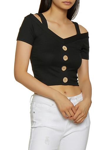 Button Cold Shoulder Crop Top,BLACK,large