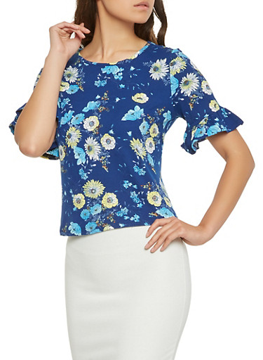 Floral Ruffle Sleeve Top,NAVY,large