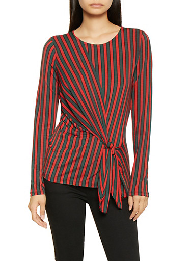 Striped Tie Front Top,GREEN,large