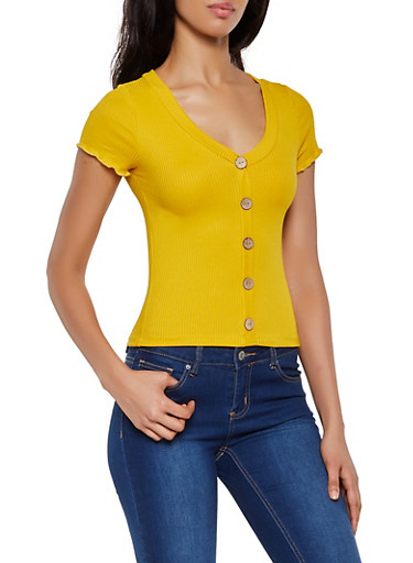 Button Front Rib Knit Top,MUSTARD,large