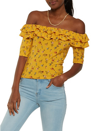Floral Tiered Ruffle Off the Shoulder Top,MUSTARD,large