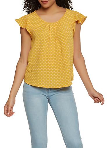 Printed Flutter Sleeve Top,MUSTARD,large