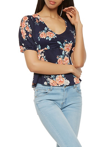Floral Ruched Textured Knit Top,NAVY,large