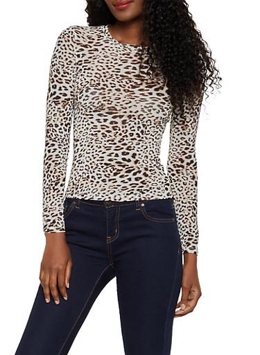 Long Sleeve Cheetah Mesh Top,BROWN,large
