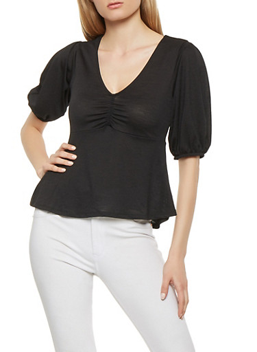 Textured Knit Ruched Front Top,BLACK,large