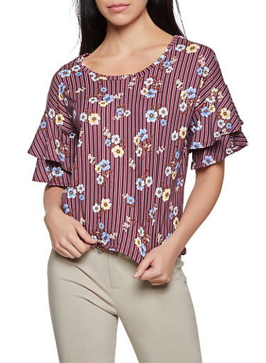 Striped Floral Tiered Sleeve Top,WINE,large