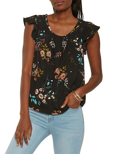 Floral Flutter Sleeve Top,BLACK,large