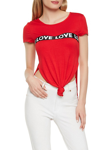 Love Graphic Trim Tee,RED,large