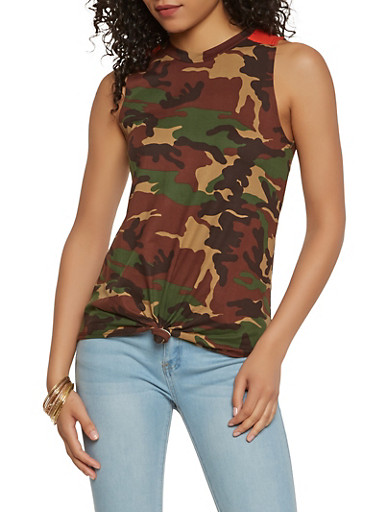Camo Tie Front Tank Top,OLIVE,large