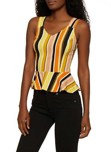 Striped Sleeveless Peplum Top,YELLOW,large