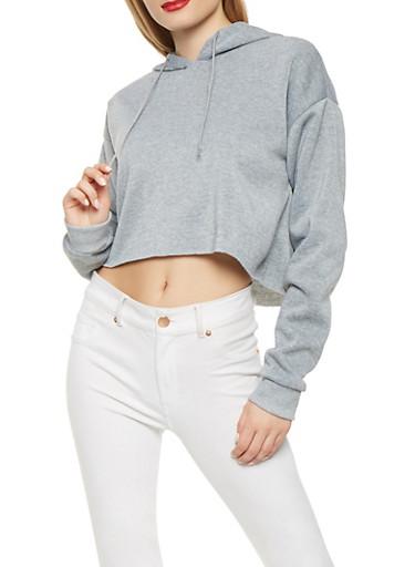 Raw Hem Hooded Sweatshirt,HEATHER,large