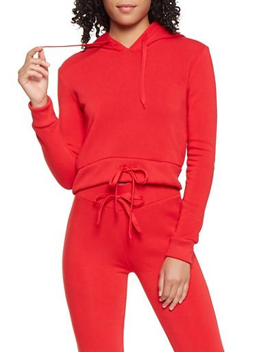 Cropped Sweatshirt,RED,large