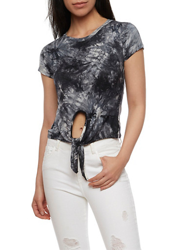 Tie Front Tie Dye T Shirt,BLACK #12,large