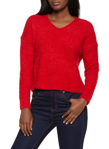 Twist Back Eyelash Knit Sweater,RED,large