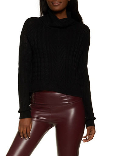 Solid Cable Knit Turtleneck Sweater,BLACK,large