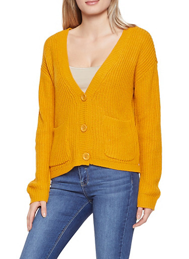 Button Front Knit Cardigan,GOLD,large