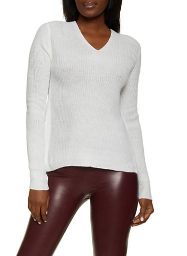 Long Sleeve Twist Back Sweater,IVORY,large
