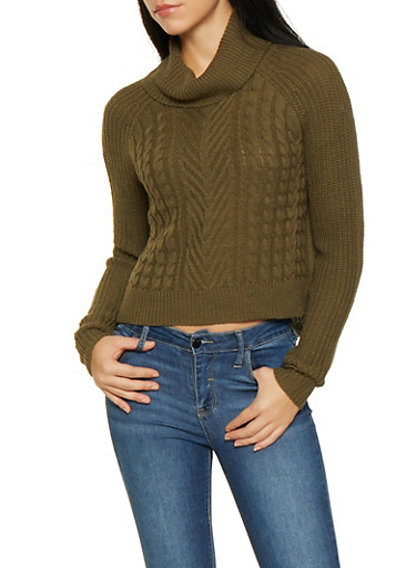 Cable Knit Turtleneck Sweater,OLIVE,large