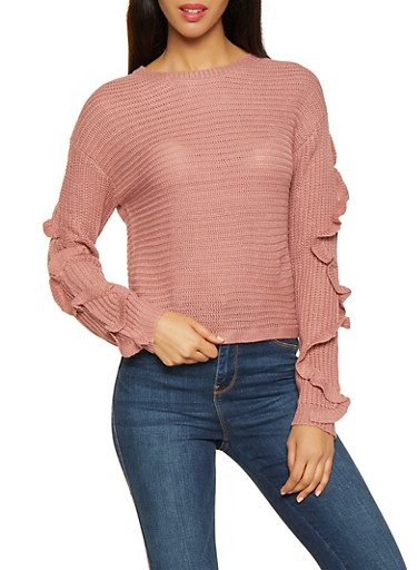 Ruffle Sleeve Sweater,PINK,large