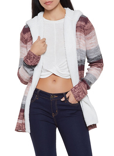 Sherpa Hooded Striped Cardigan,PINK,large