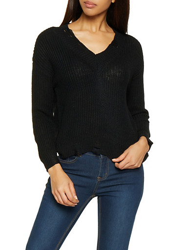 Distressed High Low Sweater,BLACK,large