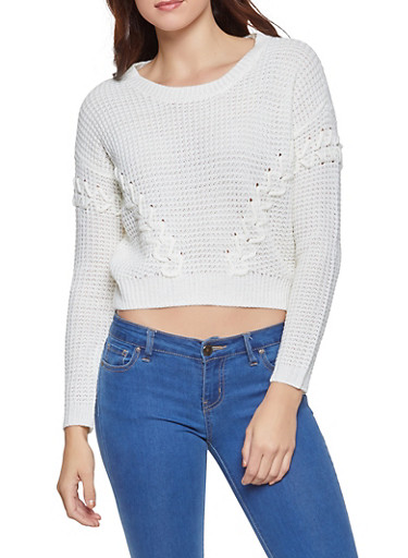 Lace Up High Low Sweater,IVORY,large