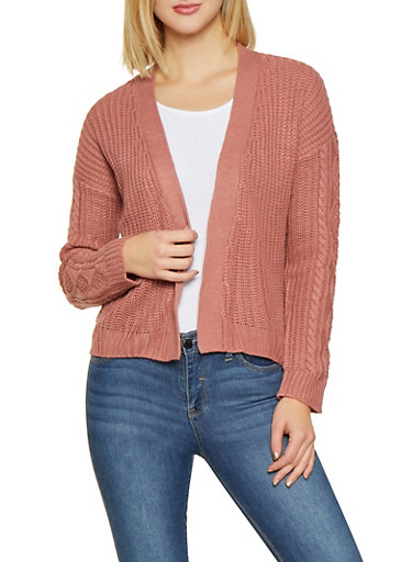 Lace Up Side Knit Cardigan,PINK,large