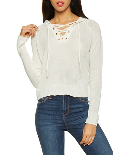 Lace Up Hooded Sweater,IVORY,large